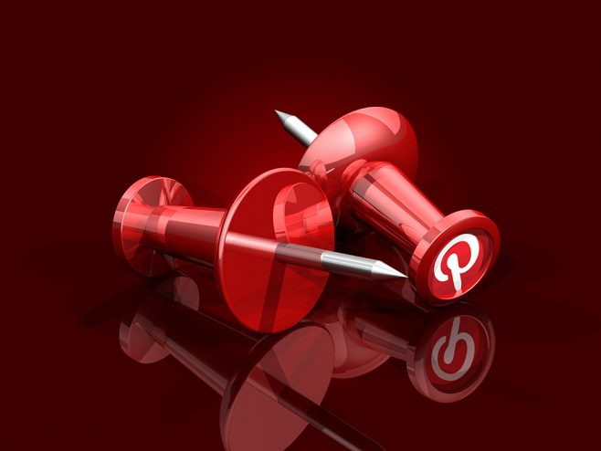 3d illustration of two large red push pins with pinterest logos on the ends